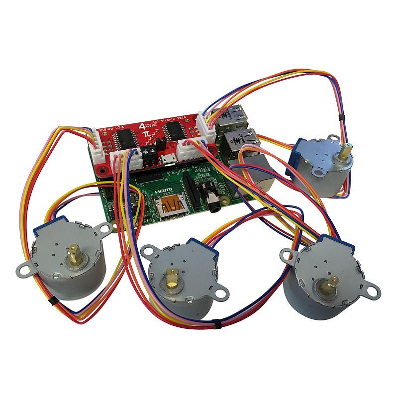 Pistep2 dual quad stepper motor control board for raspberry pi for Raspberry pi stepper motor control