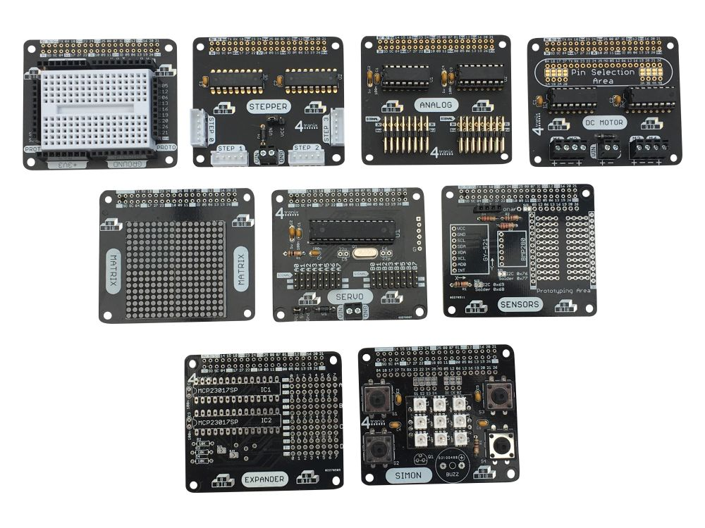 00fdbc2575f Basic Building Blocks is a range of soldering kits to make Raspberry Pi  add-on boards (aka HATs). The 40-pin GPIO connector is already soldered on  all ...